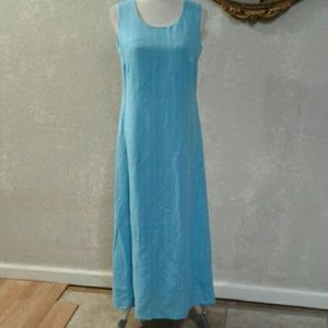NWT Kim Rogers Sully Blue Maxi Dress Linen Rayon 6